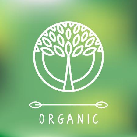 Illustration for abstract emblem - outline monogram - tree symbol - concept for organic shop - Royalty Free Image