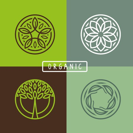 Illustration pour abstract emblem - outline monogram - ecology sign and icons - image libre de droit