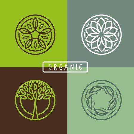 Ilustración de abstract emblem - outline monogram - ecology sign and icons - Imagen libre de derechos