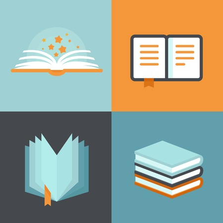 Illustration pour Vector book signs and symbols - education concepts in flat style - image libre de droit