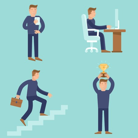 Illustration for Set of business and career concepts in flat style - cartoon illustrations - men working and achieving success and improving process - Royalty Free Image