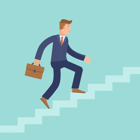 Illustration pour Vector career concept in flat style - cartoon man climbing the staircase to success and progress - image libre de droit