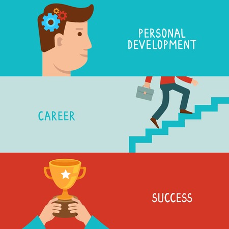 Illustration for Vector business success concepts in flat style - career from personal development to success - infographic design elements on horizontal banners - Royalty Free Image