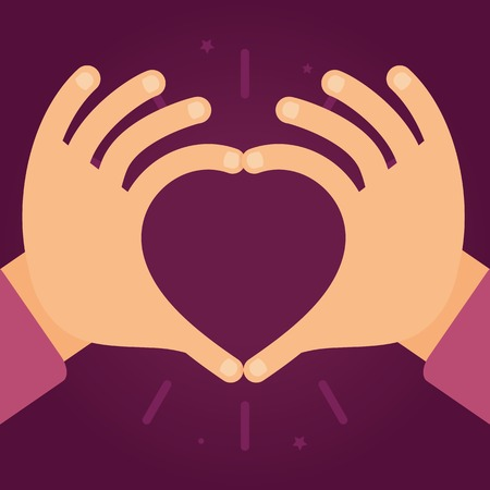 Illustration pour Vector hands in the form of heart - love and charity concept in flat style - image libre de droit