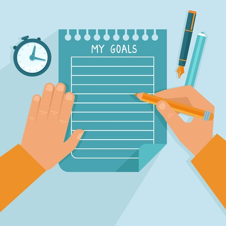 Illustration pour Vector personal goals list in flat style - man writing on the notebook page - image libre de droit