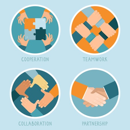 Illustration pour Vector teamwork and cooperation concept in flat style - partnership and collaboration icons - businessmen hands - image libre de droit