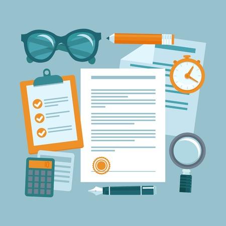 Illustration pour Vector business concept in flat style - paper douments and workplace - contract management - image libre de droit
