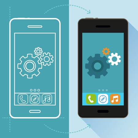 Illustration pour Vector app development concept in flat style - mobile phone and sketch on screen - infographic design elements and icons - image libre de droit