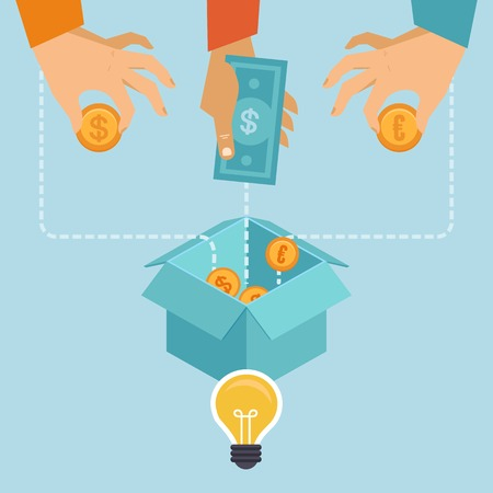 Illustration pour crowdfunding concept in flat style - new business model - funding project by raising monetary contributions from crowd of people - image libre de droit