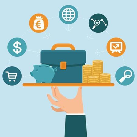 Ilustración de banking service concept in flat style - businessman - Imagen libre de derechos