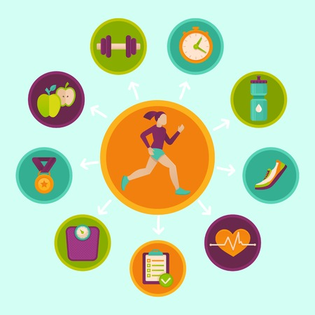 Ilustración de fitness infographics design elements in flat style - healthy lifestyle and sport - Imagen libre de derechos