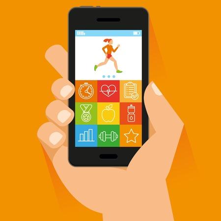 Ilustración de mobile phone and hand in flat style - fitness app concept on touchscreen - Imagen libre de derechos