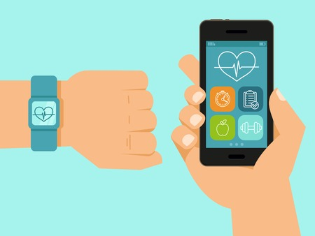 Ilustración de fitness app on the screen of mobile phone and tracker on the wrist - illustration in flat style - Imagen libre de derechos