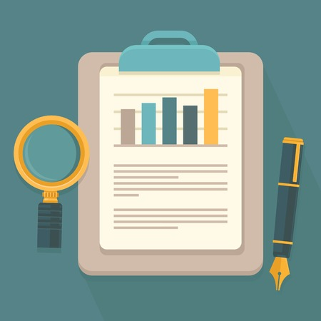 Illustration pour Vector business report in flat style - paper document and magnifier - image libre de droit