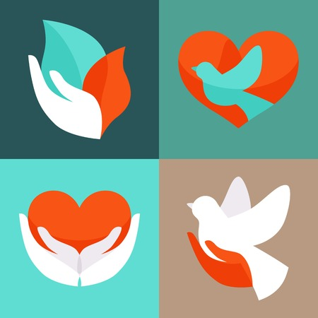 Illustration for Vector set with signs of love and care  - Royalty Free Image