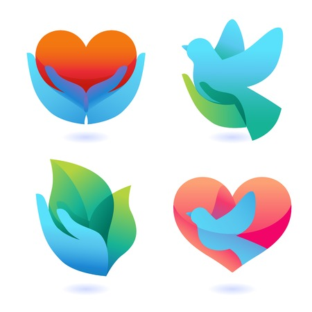Ilustración de Vector set with signs of love and care  - Imagen libre de derechos