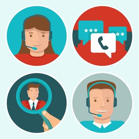 Illustration pour client service flat icons on round backgrounds - man and woman call center operators - image libre de droit