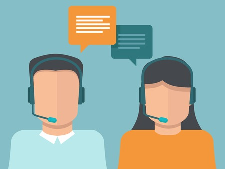 Illustration pour flat call center operators - man and woman working as customer support - image libre de droit