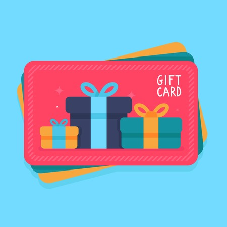 Illustration pour gift card in flat style - shopping certificate with present icons - image libre de droit