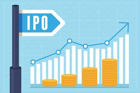 Ilustración de IPO (initial public offering) concept in flat style - investment and strategy icons - Imagen libre de derechos