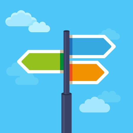 Illustration pour abstract strategy concept in flat style - road sign with different arrows - image libre de droit
