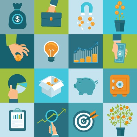 Ilustración de Vector set of finance and business concepts in flat style - investing and attracting capital to business - Imagen libre de derechos