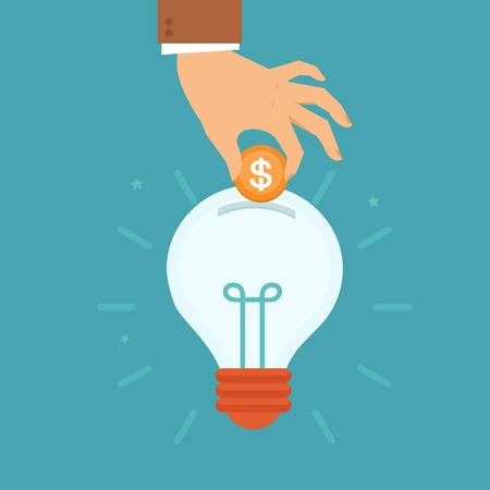 Illustration pour Vector idea attracting money concept in flat style - man's hand putting golden coin inside the light bulb - investment and innovation - image libre de droit
