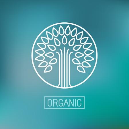 Ilustración de Vector abstract emblem - outline monogram - tree symbol - concept for organic shop - abstract design element - logo design template - Imagen libre de derechos