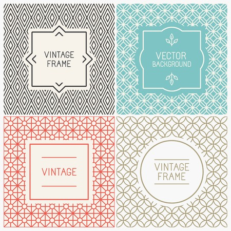Illustration pour Vector mono line graphic design templates - labels and badges on decorative backgrounds with simple patterns - image libre de droit