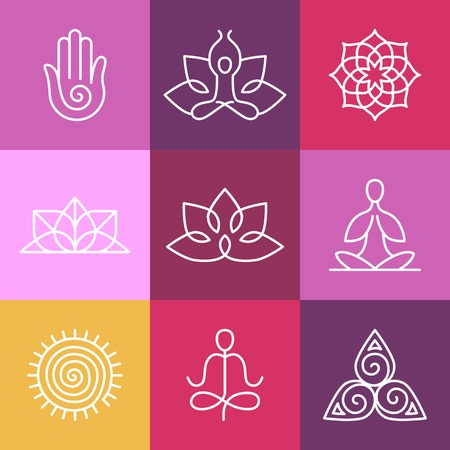 Ilustración de Vector yoga icons and round line badges - graphic design elements in outline style  or logo templates for spa center or yoga studio - Imagen libre de derechos