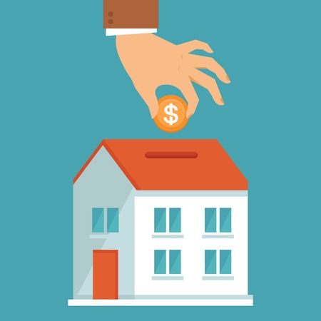 Ilustración de Vector investment concept in flat style - businessman\'s hand putting coin inside the house - real estate investment - Imagen libre de derechos