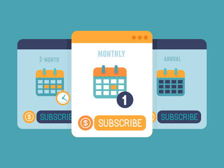 Illustration pour Vector subscription business model concept in flat style - pricing plan for app or website service - image libre de droit