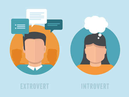 Ilustración de Vector extraversion-introversion infographics in flat style - man and woman with different personality types - Imagen libre de derechos