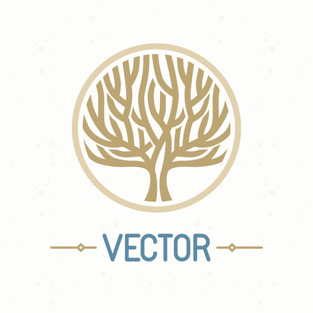 Illustration for Vector abstract emblem - outline monogram - tree symbol - concept for organic shop - abstract design element - logo design template - Royalty Free Image