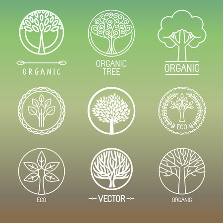 Illustration pour Vector tree logo - set of abstract organic design element - eco and bio circle badge - image libre de droit