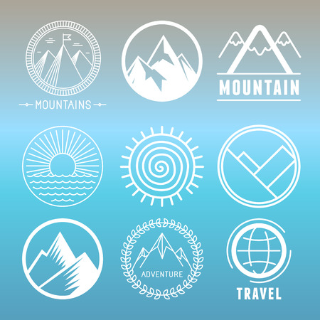 Illustration pour Vector mountain logos and emblems in outline style - abstract design elements and round badges - image libre de droit