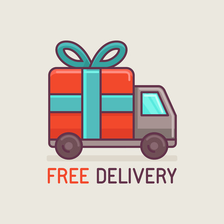 Illustration pour Vector free delivery concept in flat style - truck with gift - image libre de droit