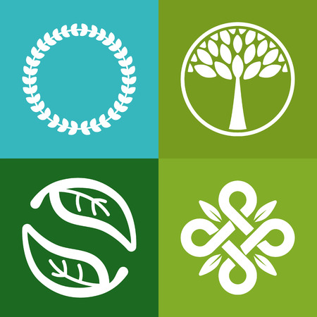 Illustration pour Vector abstract emblem -  flower and tree symbols - concept for organic shop  - logo design template - image libre de droit