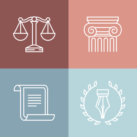 Illustration pour Vector set of juridical and legal logos and signs - line icons - image libre de droit