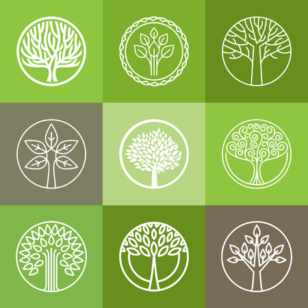Illustration for Vector tree logo - set of abstract organic design element - eco and bio circle badge - Royalty Free Image