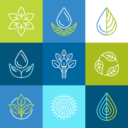 Illustration for Vector set of line icons and signs - organic emblems and ecology badges - Royalty Free Image