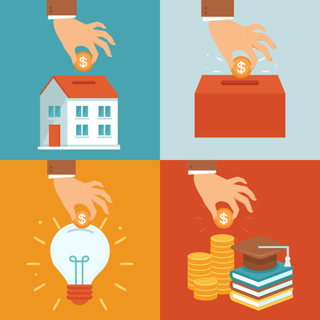 Illustration pour Vector investment concepts in flat style - invest money in education, real estate, start up and charity - image libre de droit