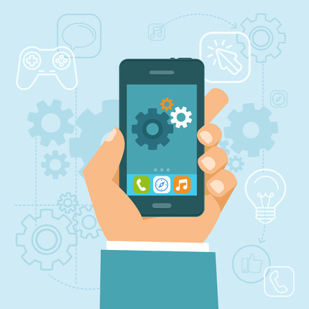 Illustration pour Vector app development concept in flat style - mobile phone and gears on the screen - infographic design elements and icons - image libre de droit