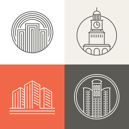 Illustration pour Vector buildings and houses logos and signs - design elements in trendy mono line style - image libre de droit