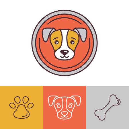 Vector dog icons in trendy mono line style - friendly pet