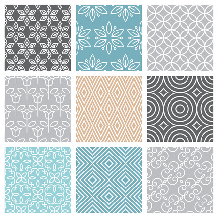Illustration pour Vector seamless patterns set in trendy mono line style - 9 minimal and geometric textures - image libre de droit