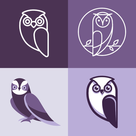 Illustrazione per Set of owl logos and emblems - design elements for schools and educational signs - Immagini Royalty Free