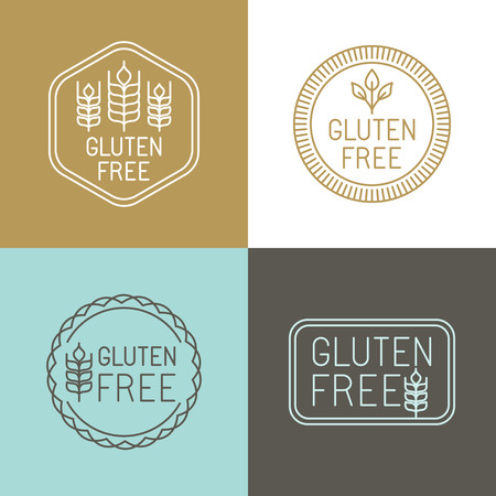 Illustration for Vector gluten free badges and emblems in line style - Royalty Free Image