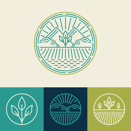 Illustration pour Vector agriculture and organic farm line icons - set of design elements and badges for food industry - image libre de droit