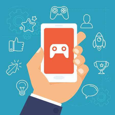 Illustration pour Vector gamification concept - digital device with touchscreen and game interface on it with award and achievement icons on background - image libre de droit